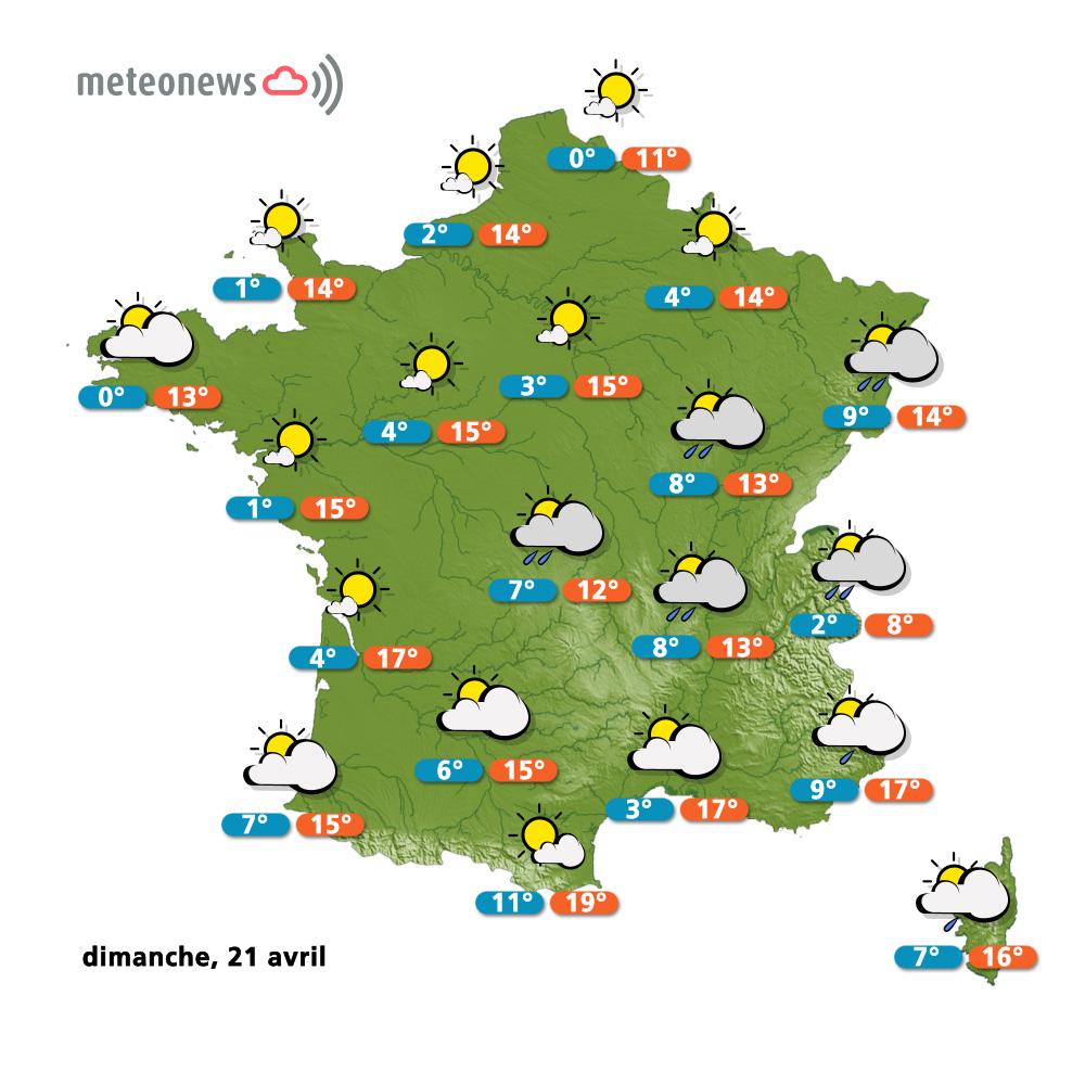Prévision météo (france) du dimanche 21 avril