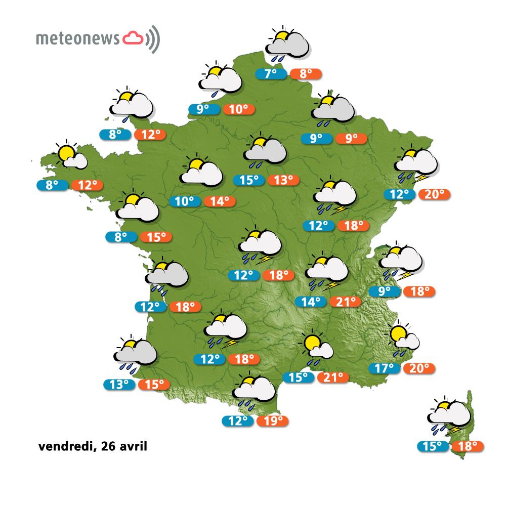 Pr visions m t o france du jeudi 25 avril grand soleil for Meteo salon de provence heure par heure