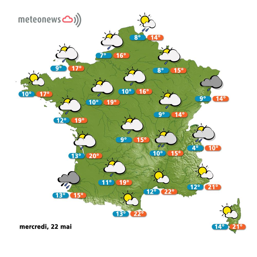 M t o france pr visions du mercredi 22 mai - Meteo le poinconnet ...