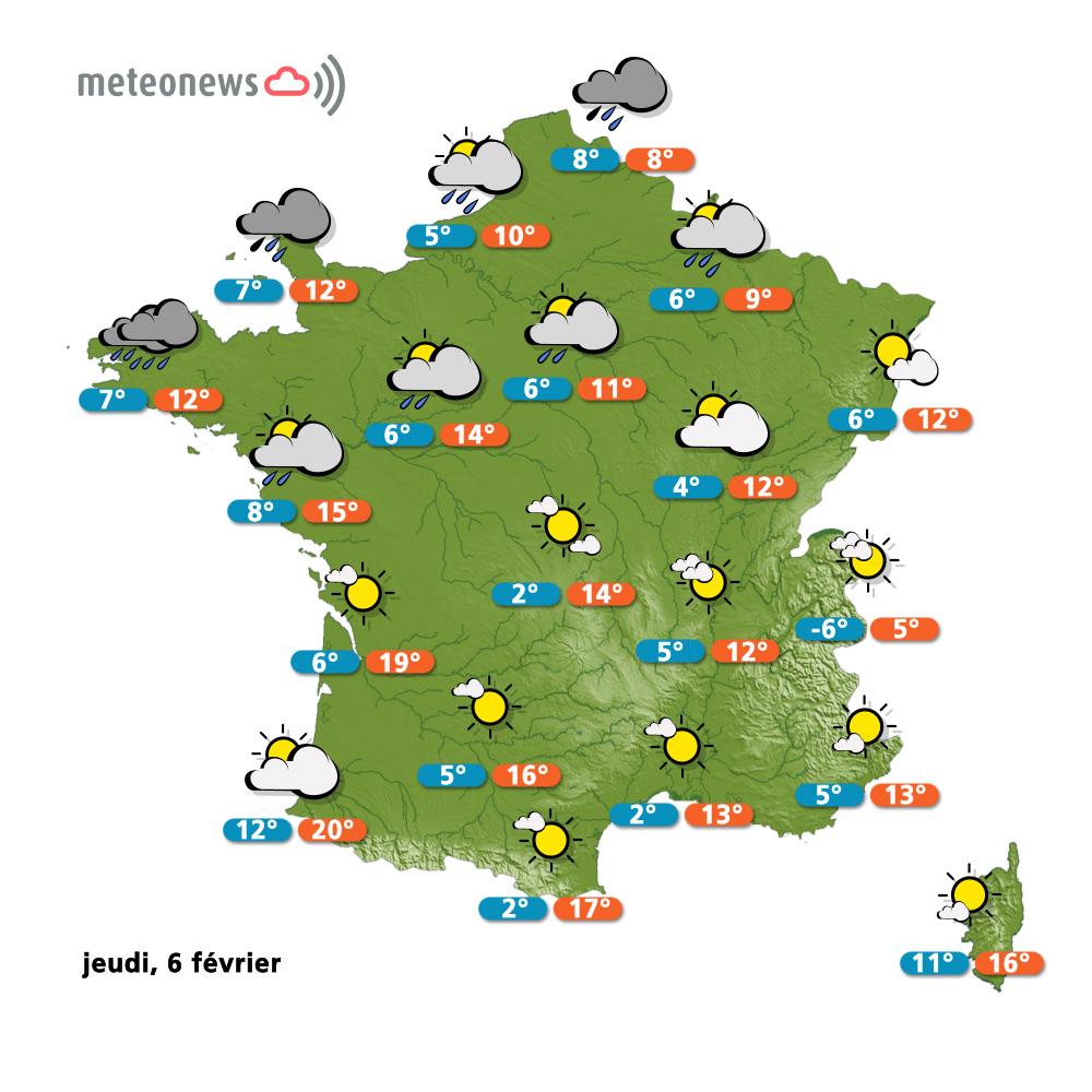 Prévisions météo (France) du jeudi 6 février Infos fr # Meteo Les Bois Francs