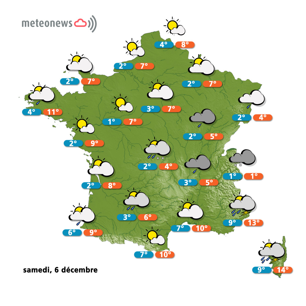 carte de france meteo week end