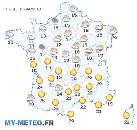 Prévisions météo en france du mardi 16 avril 2013